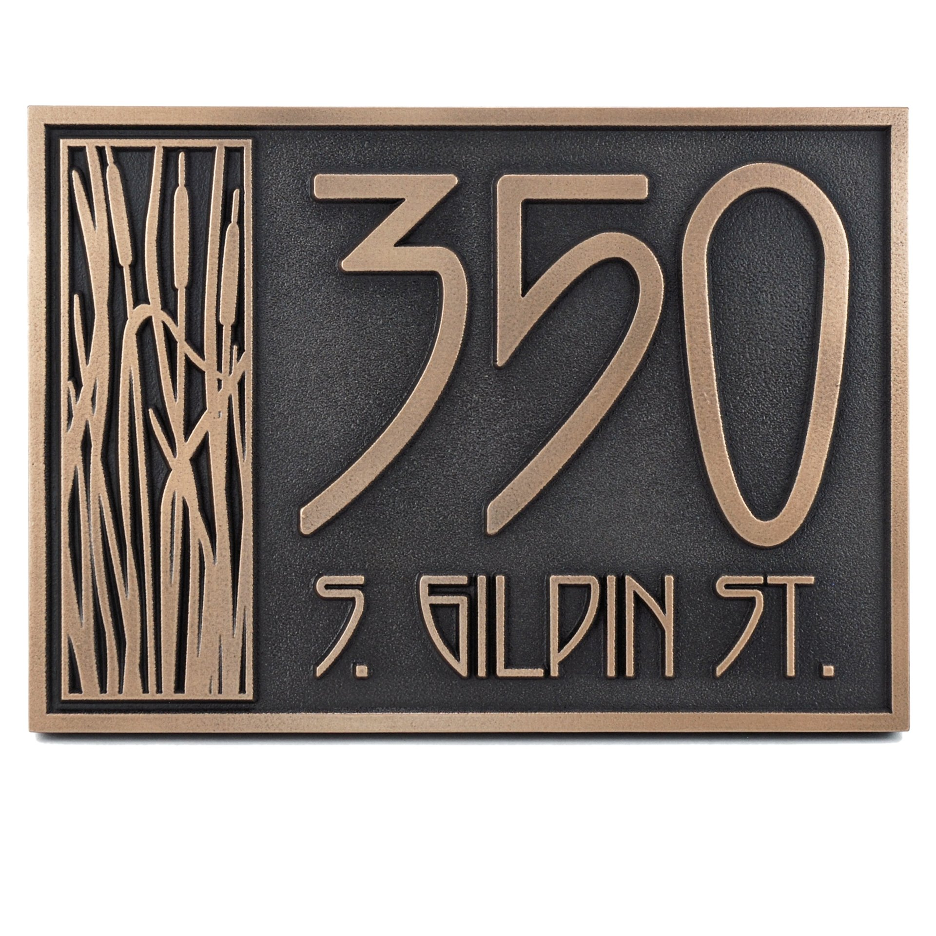 Craftsman House Numbers Plaque with Cattail - 12x8.5 - Raised Bronze Metal Coated Sign