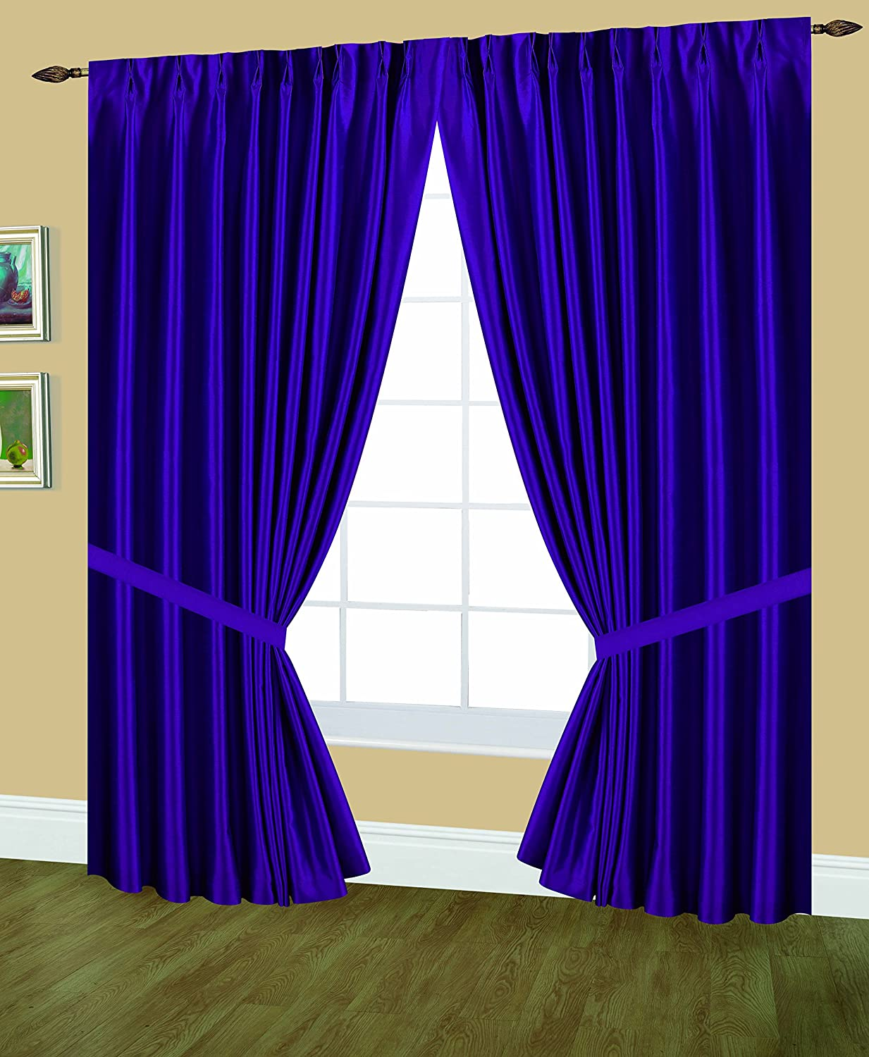Editex Home Textiles Elaine Lined Pinch Pleated Window Curtain, 96 by 63-Inch, Purple