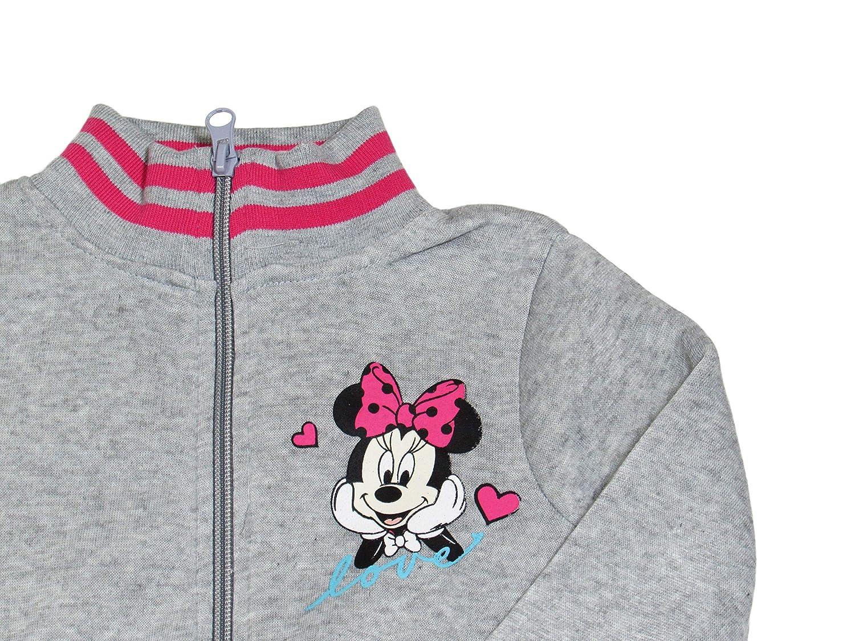 Disney Tuta da Ginnastica Bambina Minnie 7257 Felpa Senza Cappuccio con Zip e Colletto Alto