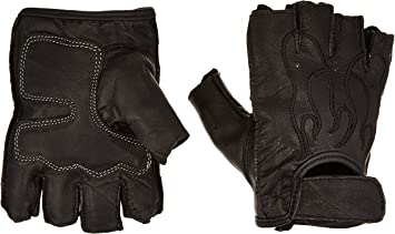 Red Flame FI166GEL-RED First Manufacturing Mens Fingerless Leather Gloves