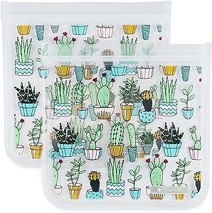 Full Circle ZipTuck Resuable Plastic Bags Sandwich Set, Cactus Party, Set of 2