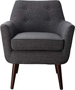 TOV Furniture Clyde Collection Mid Century Upholstered Tufted Living Room Accent Chair, Grey