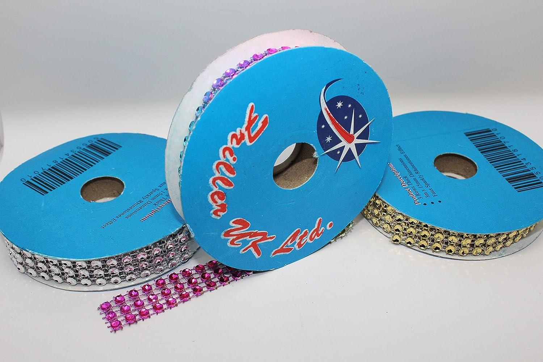 3 row faux diamond diamante ribbon ROLL END by Friller UK Ltd. 3m length of 15mm
