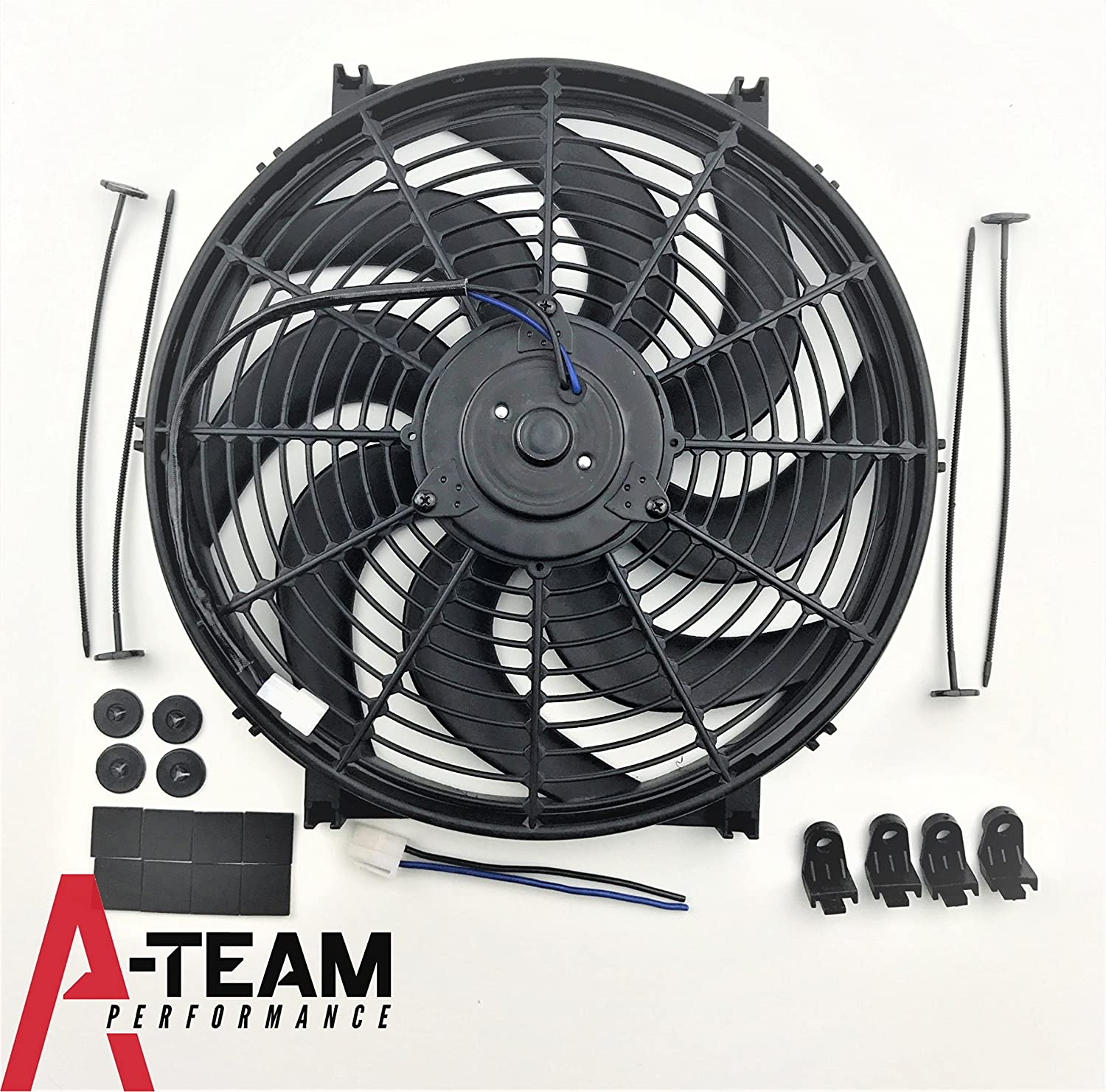 A-Team Performance 110011 14' Heavy Duty 12V Radiator Electric Wide Curved 8 Blade FAN 2400 CFM Reversible Push or Pull with Mounting Kit