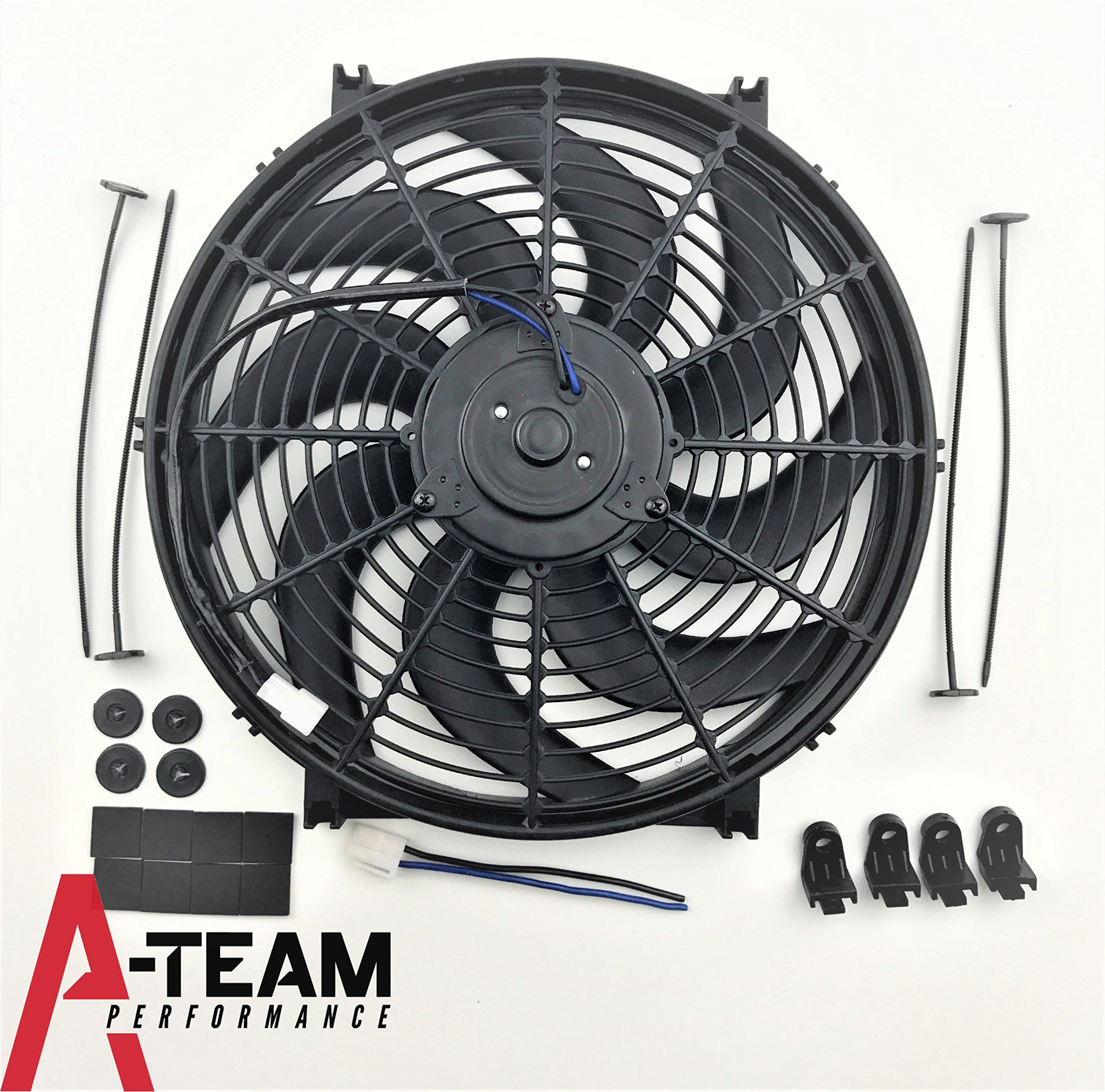 A-Team Performance 110011 14'' Heavy Duty 12V Radiator Electric Wide Curved 8 Blade FAN 2400 CFM Reversible Push or Pull with Mounting Kit by A-Team Performance