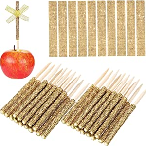 36 Pieces Gold Bling Bamboo Candy Fruit Sticks Set Include 5.5 Inch Bamboo Stick and Bling Rhinestone Stickers for Cake Pop Chocolate Fruit Skewers Candy Making Accessories