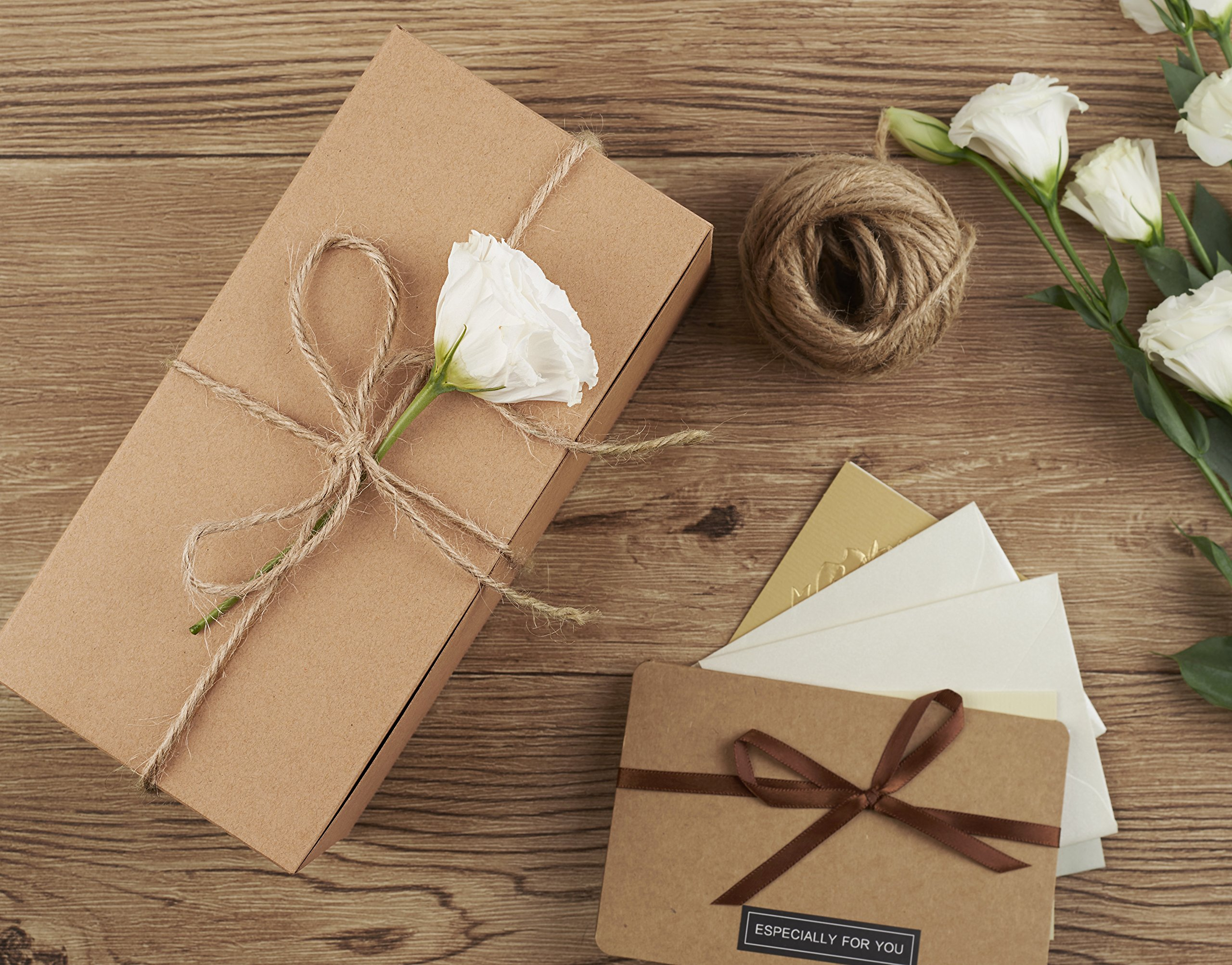 Mesha Recycled Gift Boxes 9x45x45 Inch Brown Paper Boxes 10pcs