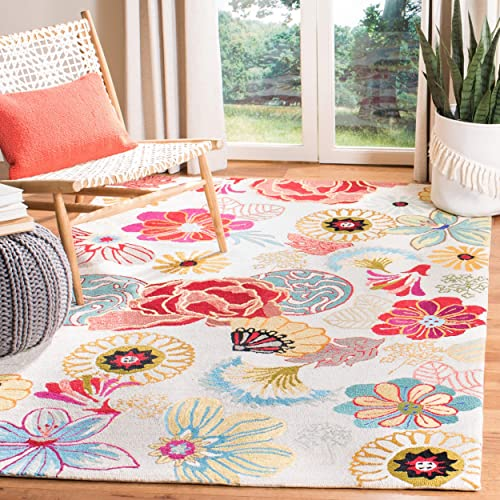 Safavieh Four Seasons Collection FRS470B Hand-Hooked Area Rug, 8 x 10 , Ivory Red