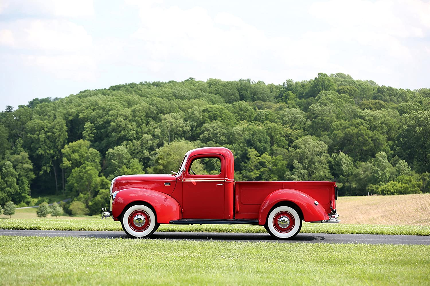 Ford Deluxe Pickup 1941 Truck Print On 10 Mil Archival Grain Satin Paper Red Front Side Static View 11x17 Posters Prints