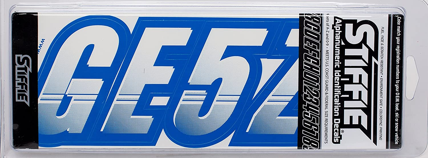 Stiffie Techtron White//Blue 3 Alpha-Numeric Registration Identification Numbers Stickers Decals for Boats /& Personal Watercraft