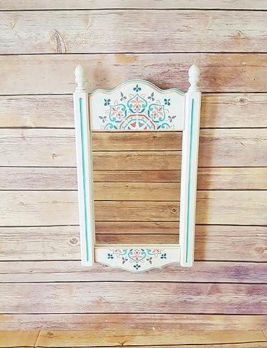 Wall Mirror Wood Framed Mirror White Framed Mirror Mandala Print Home Decor Bohemian Bedroom Mint And Coral Decor Girls Bedroom Handmade