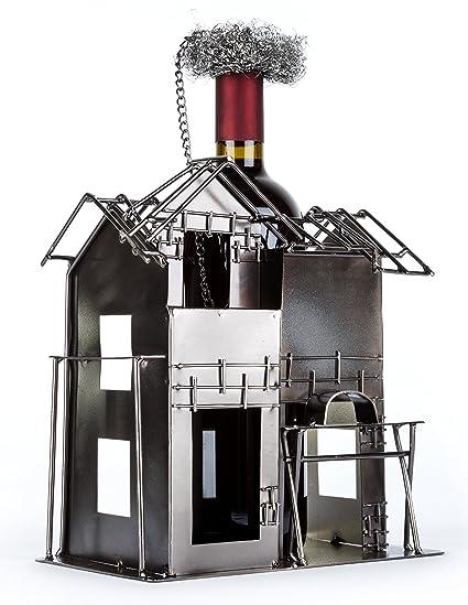 Flaschenhalter aus Metall als Geschenkidee für Bauherren oder für Geschenke  zum Richtfest Geschenkideen oder als Hausbau Geschenk für Häuslebauer und  ...