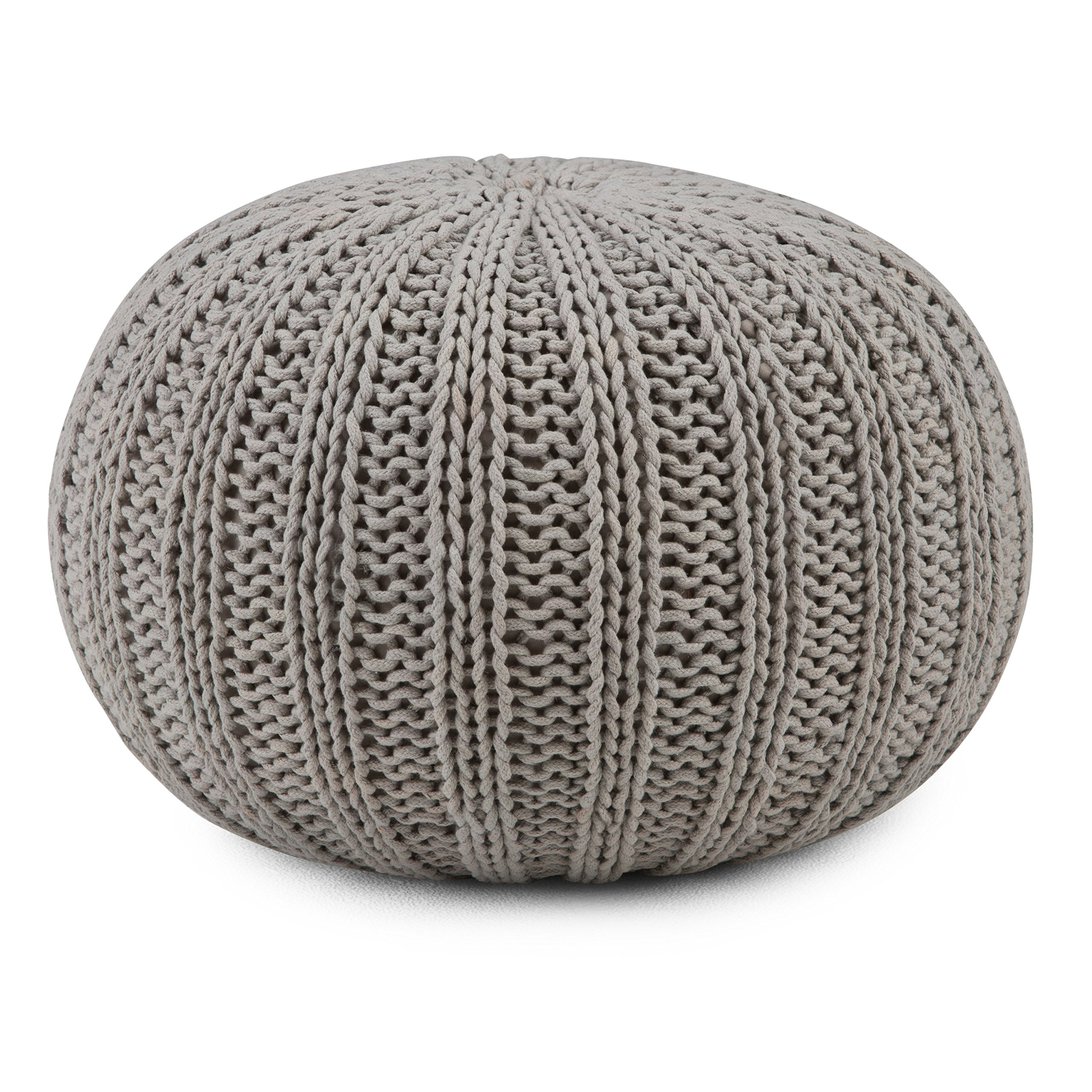 Simpli Home Shelby Round Pouf, Dove Grey by Simpli Home