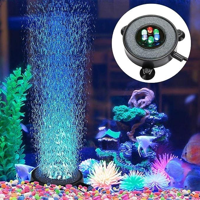 BAQI Aquarium - Disco difusor de Burbujas con luz LED para pecera, decoración de Tanque: Amazon.es: Productos para mascotas