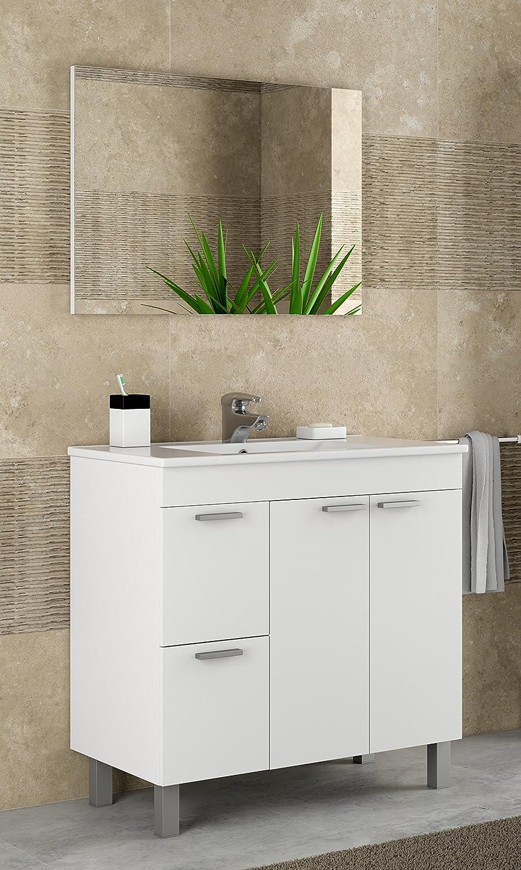 Mueble lavabo de baño o aseo con lavamanos de PMMA y un fantástico espejo a  juego e1cae7a24c17