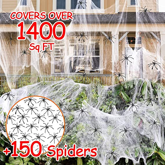 Amazon.com: 1400 sqft Halloween Spider Webs Decorations with 150 Extra Fake Spiders, Super Stretchy Cobwebs for Halloween decor Indoor and Outdoor: Toys & Games