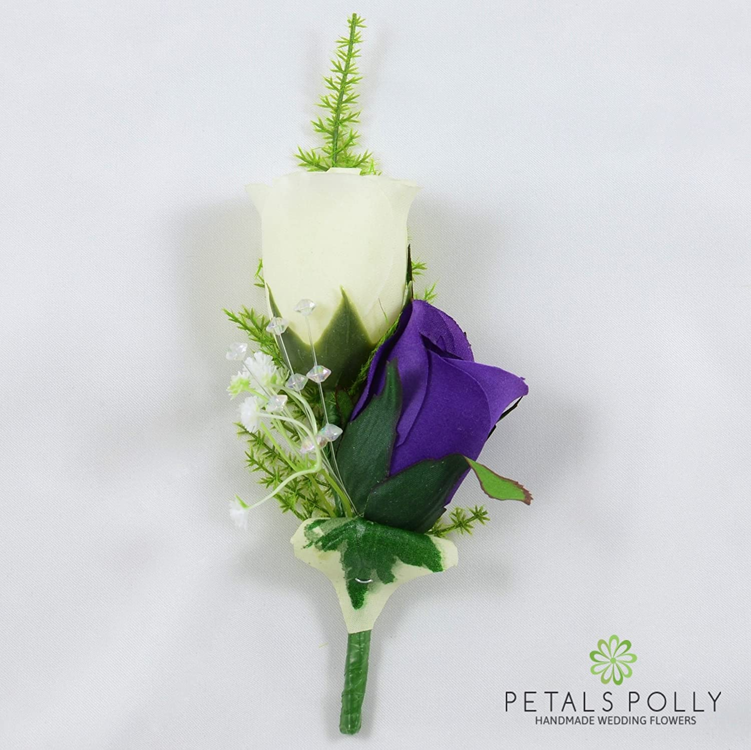 Artificial Wedding Flowers Hand-made by Petals Polly, SILK DOUBLE ROSE BUTTONHOLE IN PURPLE/IVORY PETALS POLLY FLOWERS