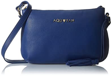 Aquatan Women's Cross My Heart Small Leather Cross Body Bright Blue AT-S-34