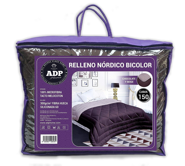 ADP Home - Edredón Nórdico Bi-Color 300 Grms 100% Fibra Hueca Siliconada 6D, Exterior 100% Microfibra Tacto de Melocotón - Medidas (240x260 cm) Cama 150 y ...