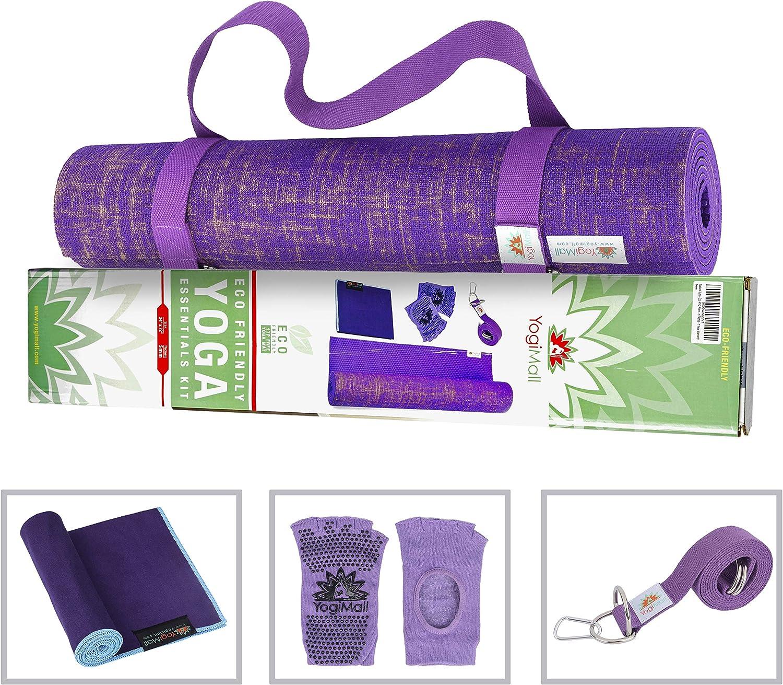 YogiMall Natural Jute Yoga Mat Kit - Ultimate Gift Set for Yoga & Fitness Lovers - Includes Reversable Yoga Mat, Non-Slip Socks, Stretching Strap & ...