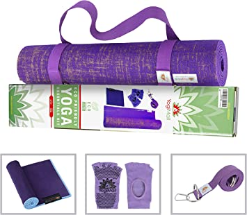 YogiMall Natural Jute Yoga Mat Kit - Ultimate Gift Set for Yoga & Fitness Lovers - Includes Reversable Yoga Mat, Non-Slip Socks, Stretching Strap & ...