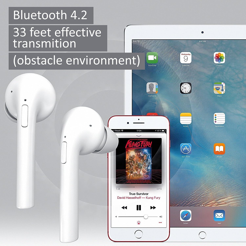 Airpods inalámbrico de auriculares Bluetooth - Auriculares in-ear - auriculares estéreo para Apple Iphone 8, 8 Plus, X, 7, 7 Plus, 6, 6S, Samsung, ...