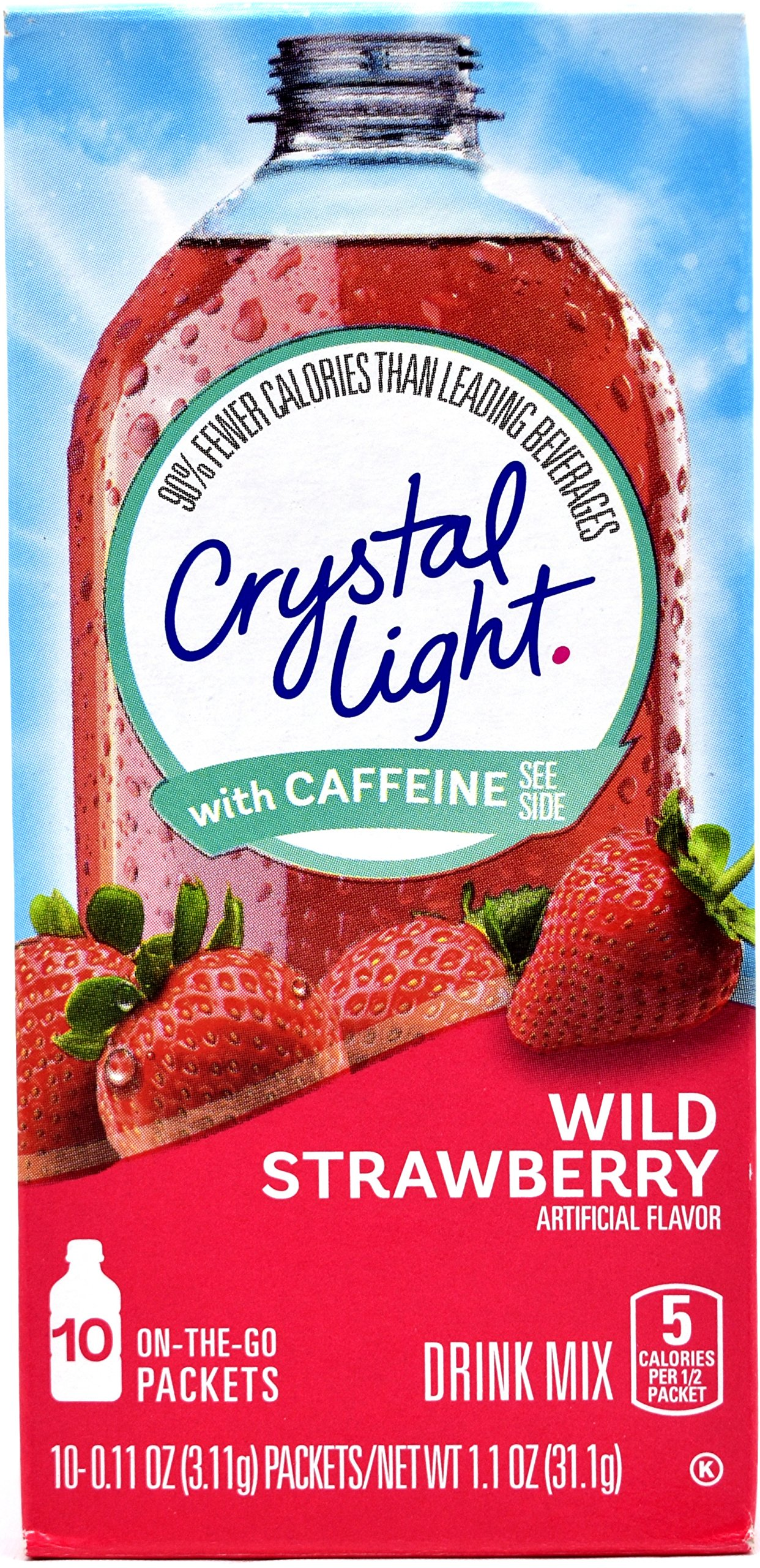 Crystal Light On The Go Wild Strawberry With Caffeine Drink Mix, 10-Packet Box (Pack of 10)