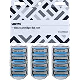 Amazon Brand - Solimo 5-Blade Razor Refills for Men with Dual Lubrication and Precision Beard Trimmer, 12 Cartridges (Fits So