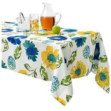 Benson Mills Lola Indoor Outdoor Spillproof Stain Resistant Tablecloth (Teal, 60 X 84)
