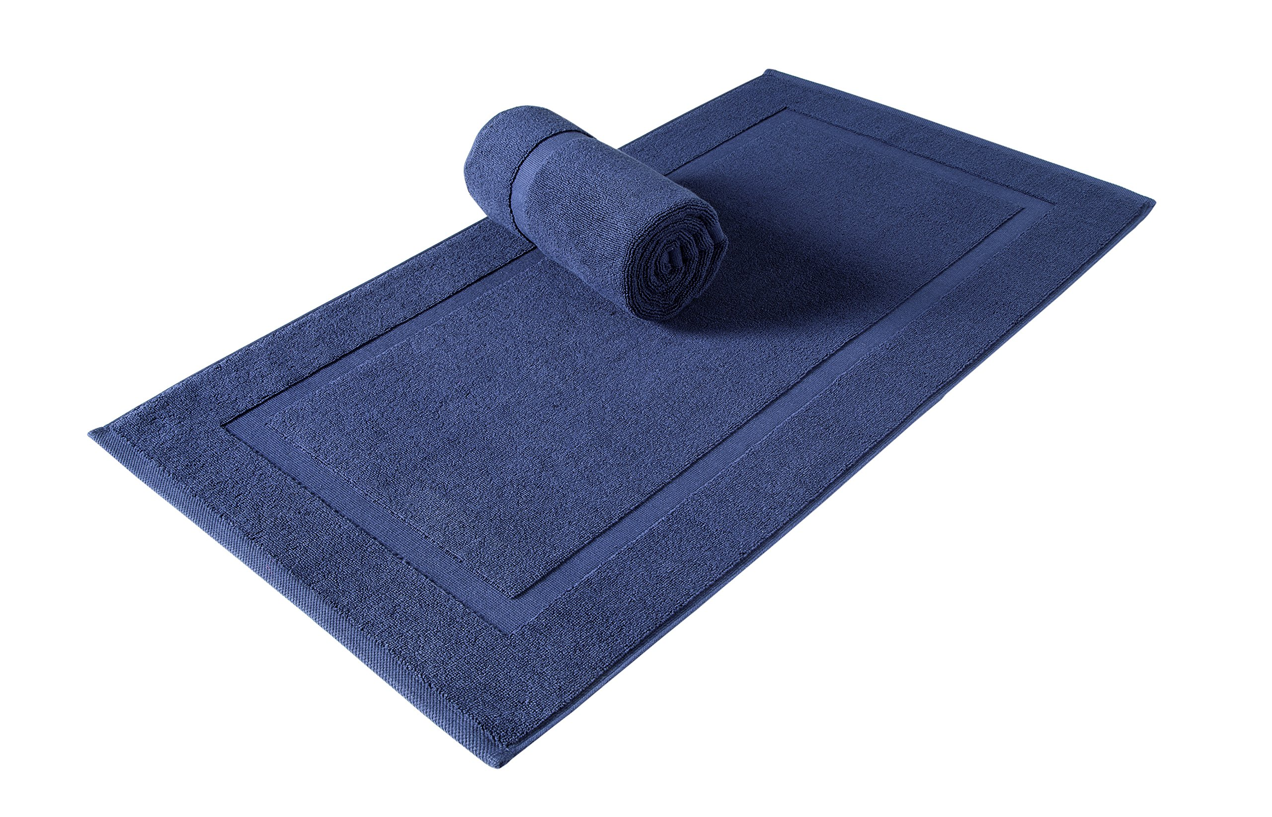 SALBAKOS Luxury Hotel Spa 100% Turkish Cotton Banded Panel Bath Mat Set 900gsm! 20''x34'' (Navy, 2 Pack)