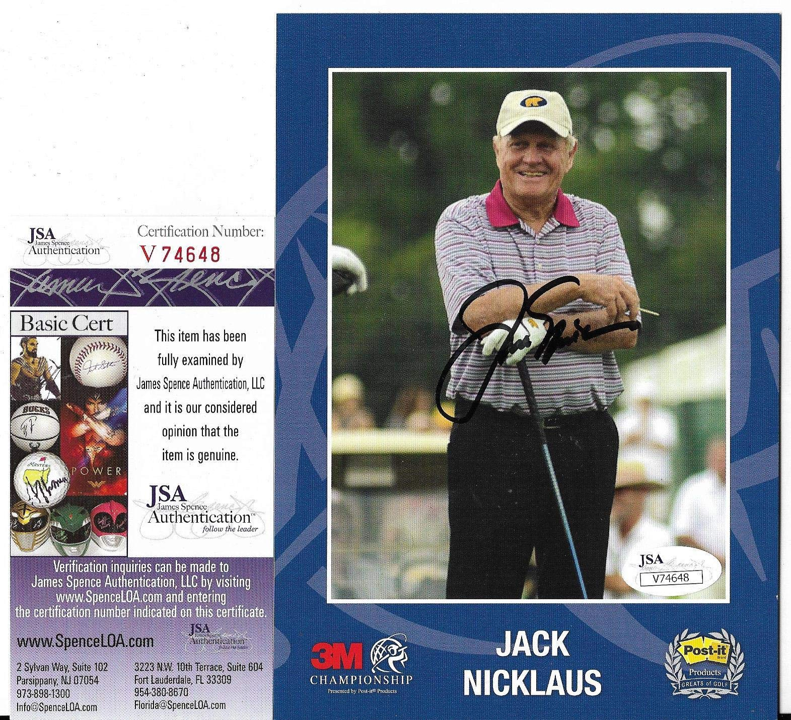 Jack Nicklaus Golf Legend Signed Autographed 6x8 Photo Coa Authenticated JSA Certified Autographed Golf Equipment