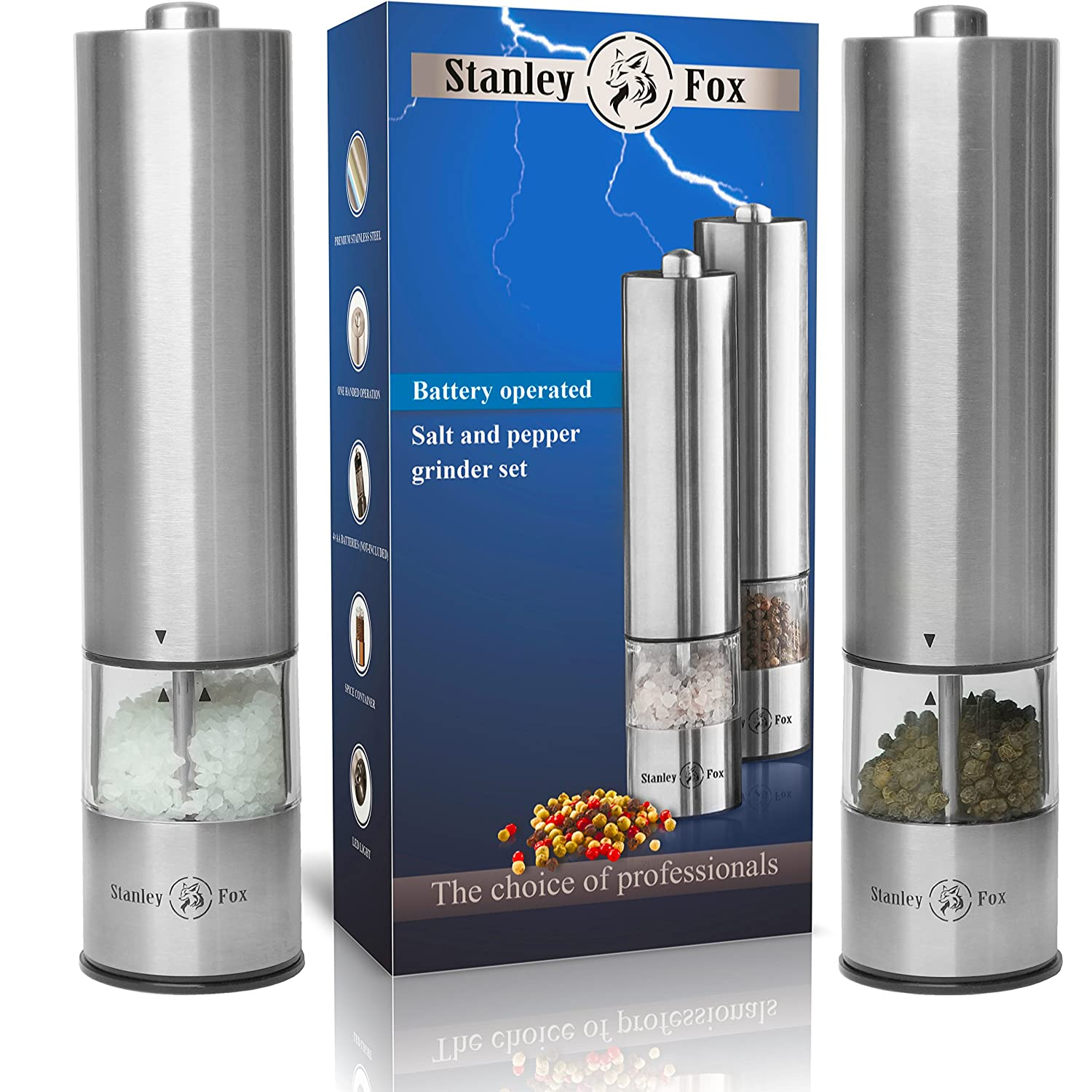 Stanley Fox Electric Salt and Pepper Grinder Set - Salt and Pepper shakers with LED - Automatic Mills - Battery Operated Salt Grinder and Pepper Mill - One-Handed Pepper Grinder