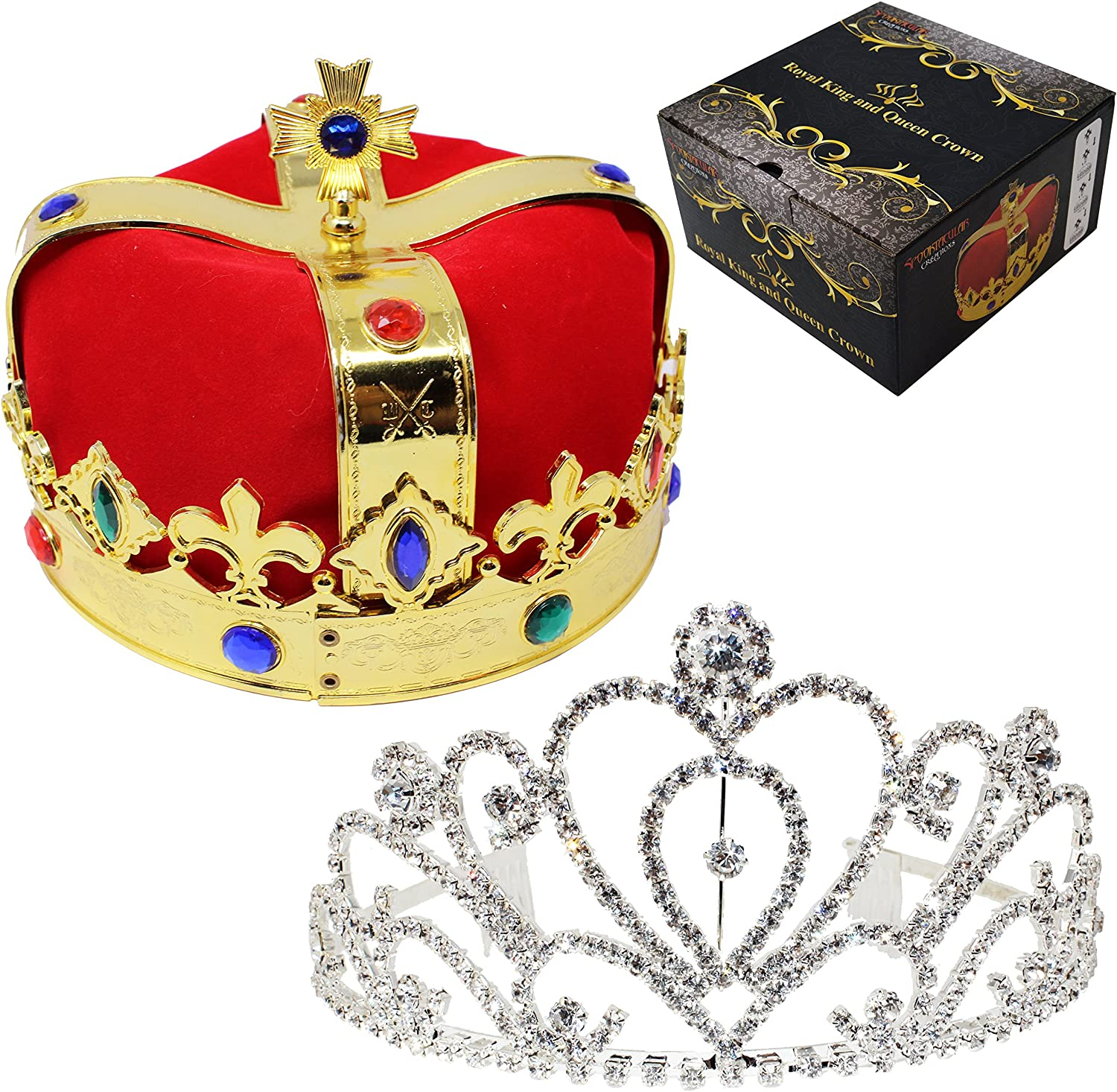Amazon Com Joyin Royal Jewleled 2 Pack King S And Queen S Royal Crowns King Queen Halloween Costume Prom Accessories Clothing