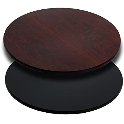 Flash Furniture 36u0027u0027 Round Table Top With Black Or Mahogany Reversible  Laminate Top