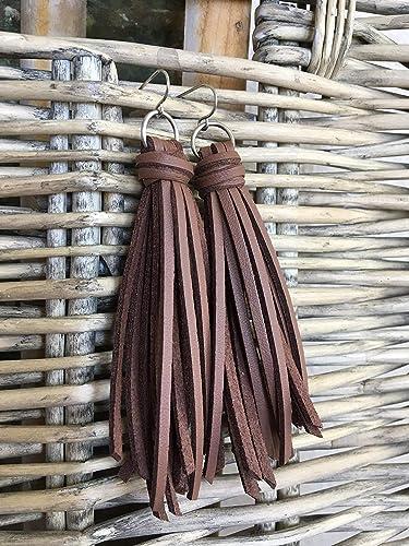 c2a20af84a Amazon.com  Brown Tassel Earrings - Faux Leather Fringe  Handmade