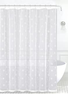 Emily Decorative Sheer Fabric Shower Curtain White Silver Embroidered Flowers70 X 72