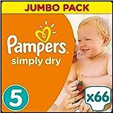 Pampers Windeln Simply Dry Gr. 5 Junior 11-25 kg Jumbo Pack, 2er Pack (2 x 66 Stück)