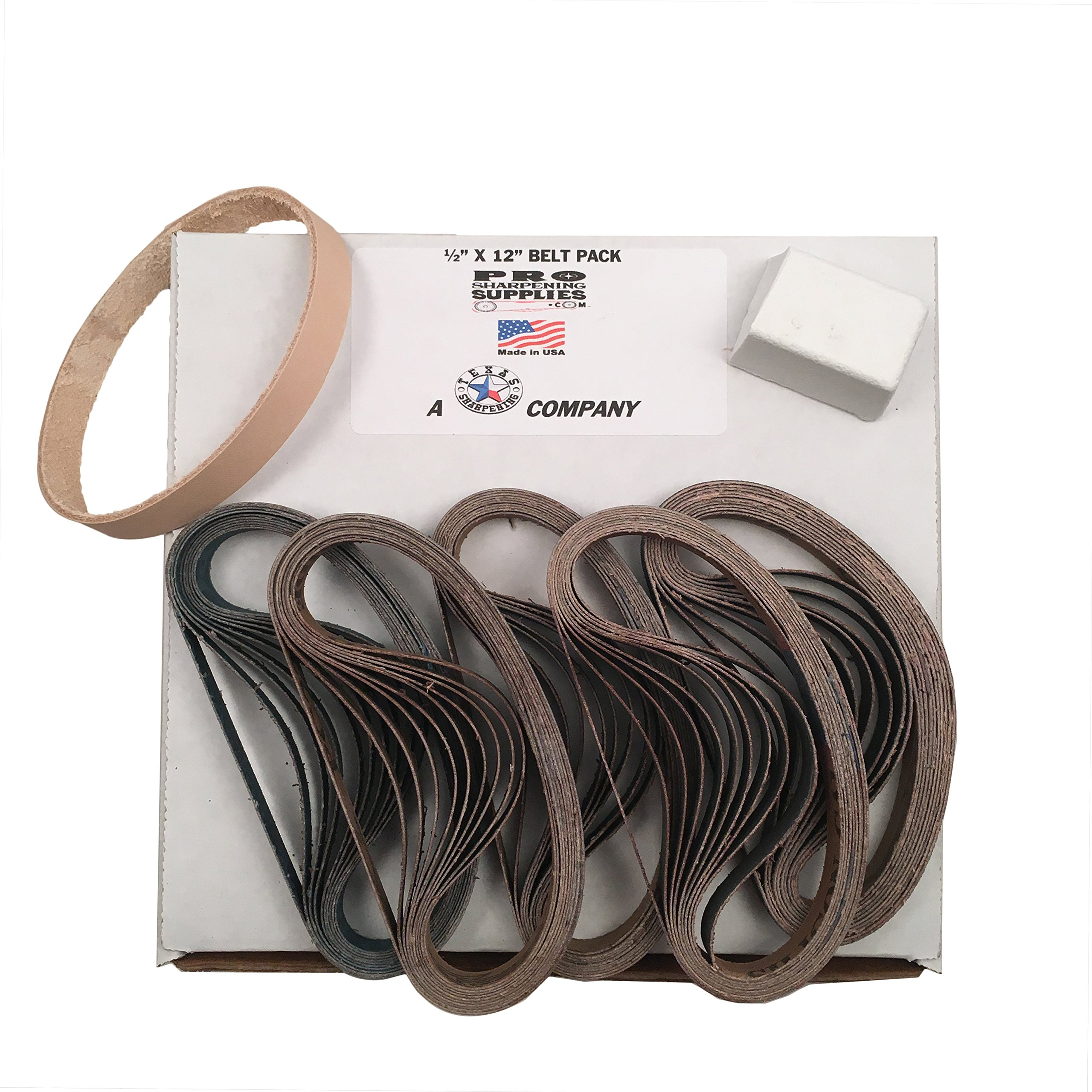 "1/2""x12"" Work Sharp Belt Pack-120, 400, 600, 800, 1000 & Leather Belt w Compound"
