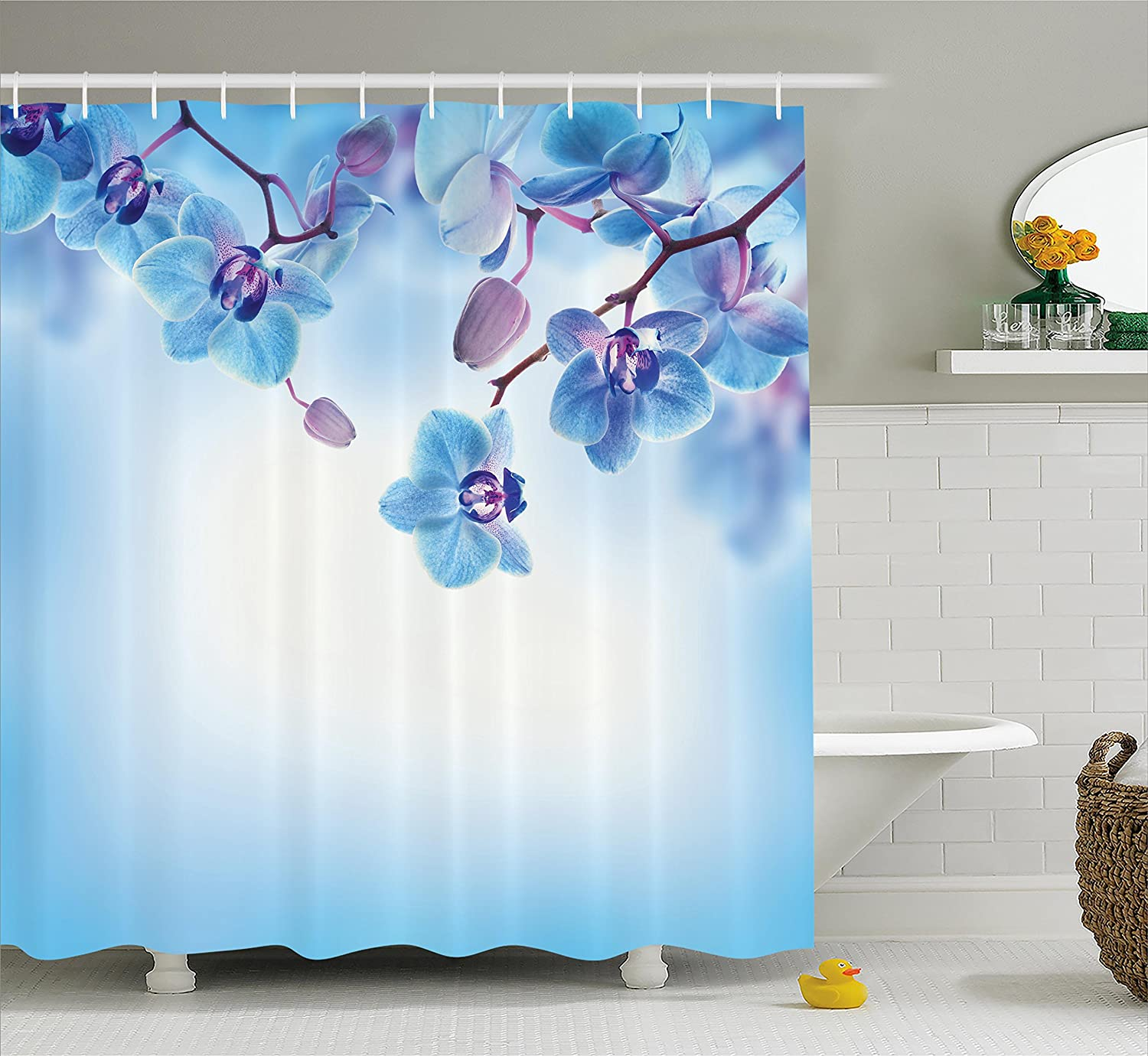 Fabric Bathroom Decor Set with Hooks Orchids Asian Natural Flowers Reflections on Water for Spring Calming Art Ambesonne Flower Decor Shower Curtain Blue Purple 75 Inches Long