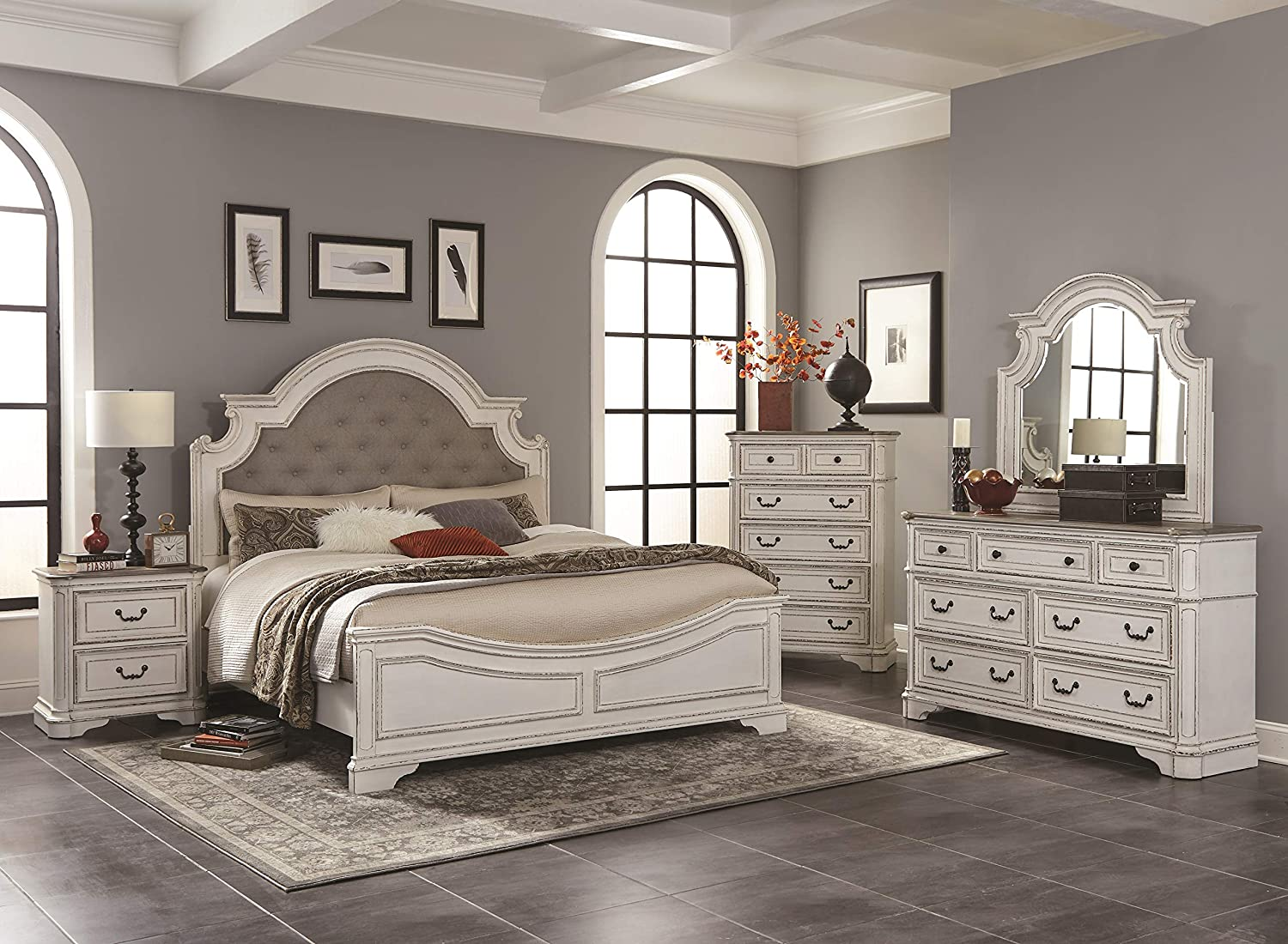 Roundhill Furniture Laval Wood Bedroom Set, Upholstered Queen Bed, Dresser, Mirror, One Nightstand, Chest, Antique White and Oak