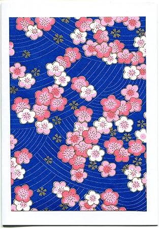 Grußkarte Kirschblüte, jap. Chiyogami Papier, Blumen rot blau gold ...
