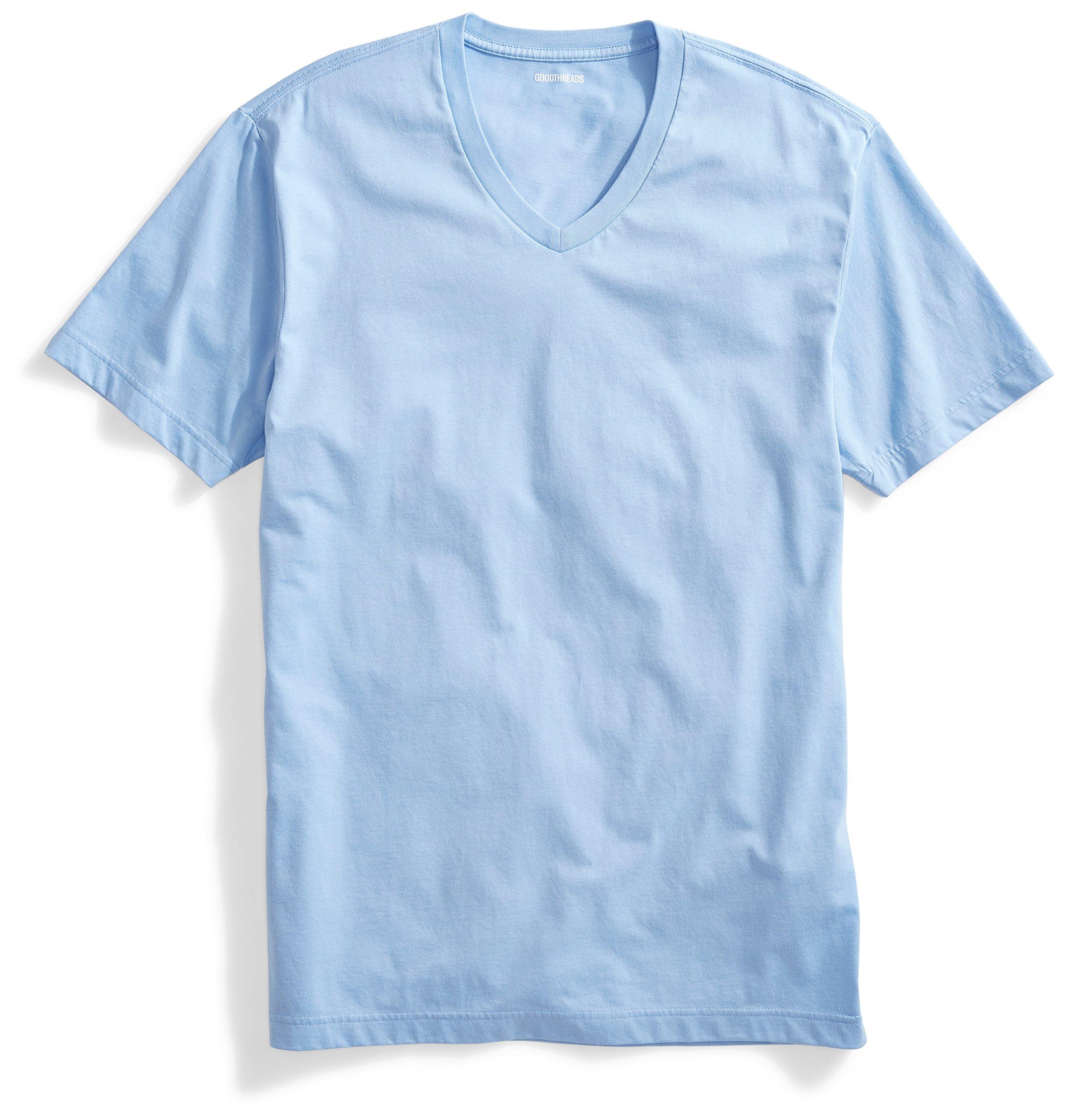 Goodthreads Men's Short-Sleeve V-Neck Cotton T-Shirt, Light Blue, Large by Goodthreads