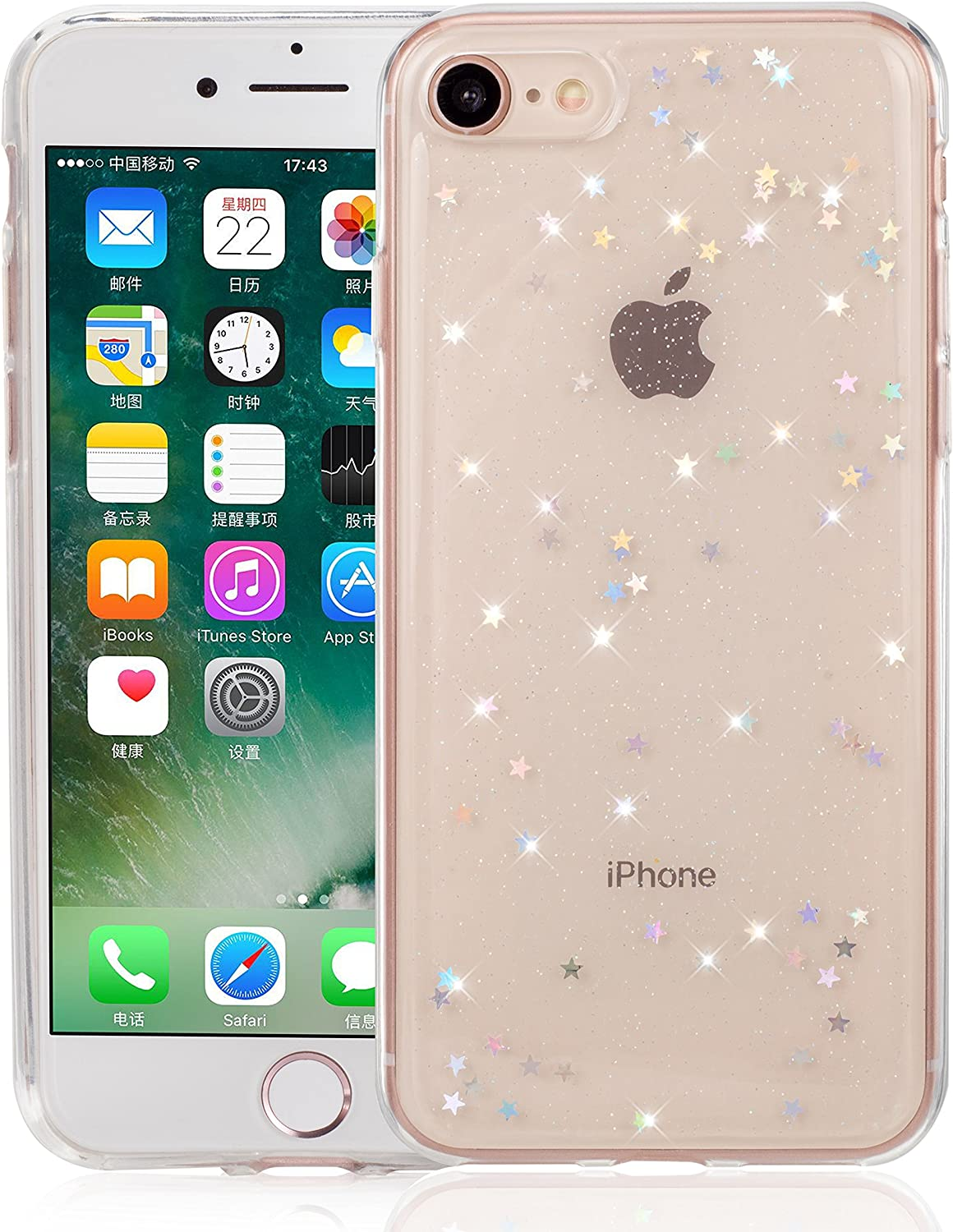 QLTYPRI iPhone SE 2020 Case iPhone 7 Case iPhone 8 Case Spark Glitter Cute Case for Women Girls Shining Bling Star Design Ultra Slim Shockproof Transparent Soft Gel TPU Protective Cover - Clear