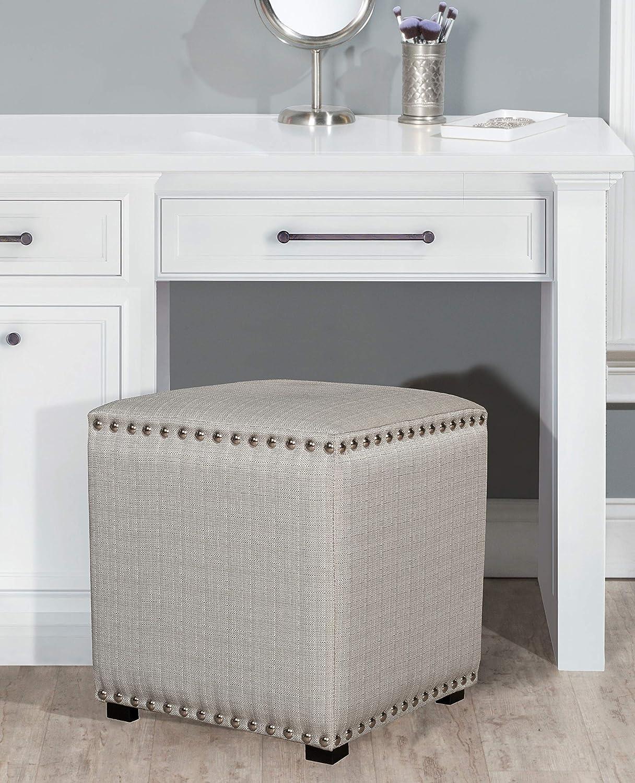 Hillsdale Furniture Lani Vanity Stool, Light Linen Gray