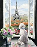 """Bichon Frise In Paris"" Art Print Signed by Artist DJ Rogers"