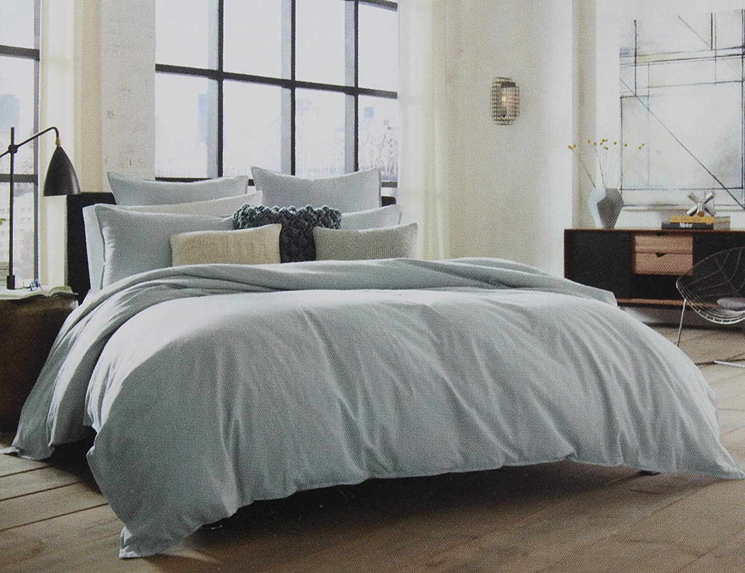 Kenneth Cole Reaction Home Full Queen Size Duvet Cover from the Mineral Bedding Collection in a Stoney Blue Color RN 100350