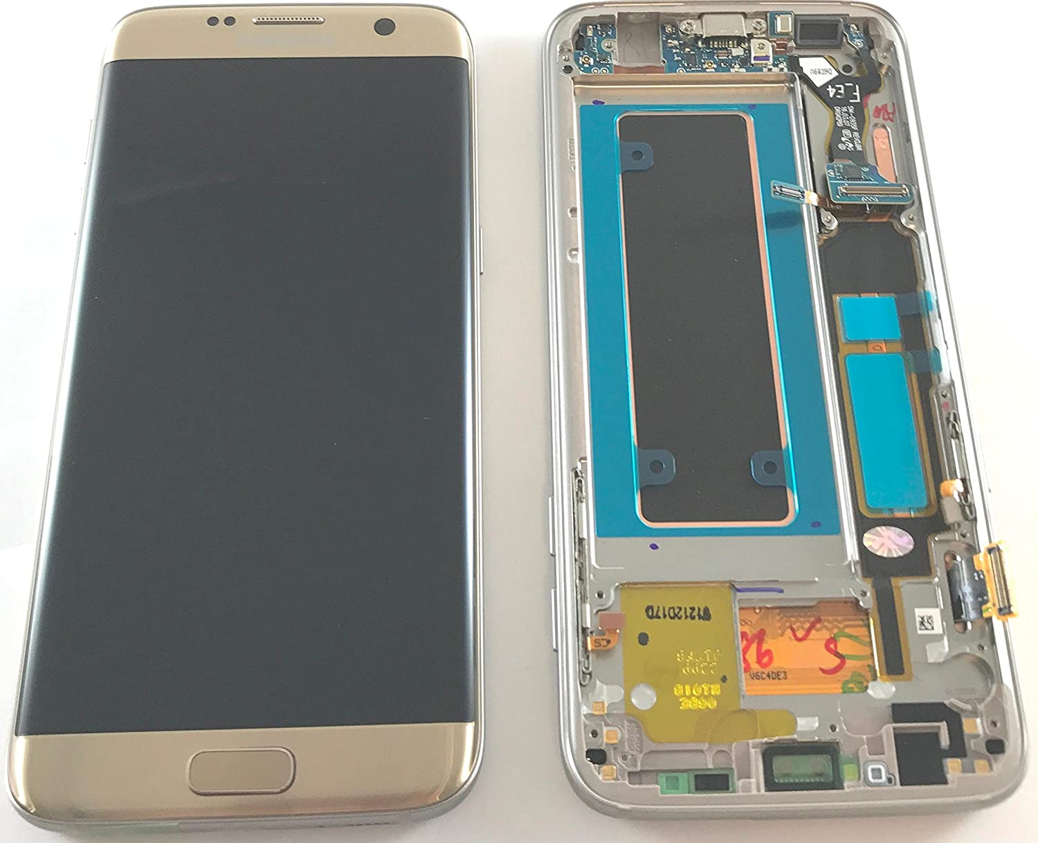 Samsung Genuine Galaxy S7 Edge G935f Lcd Touch Screen Digitizer Touchscreen Gold Original Complete With Frame Home Button Side Keys Microphone And Usb Flex Not Compatible