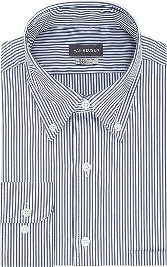 Van Heusen mens Pinpoint Regular Fit Stripe Button Down Collar Dress Shirt Dress Shirt