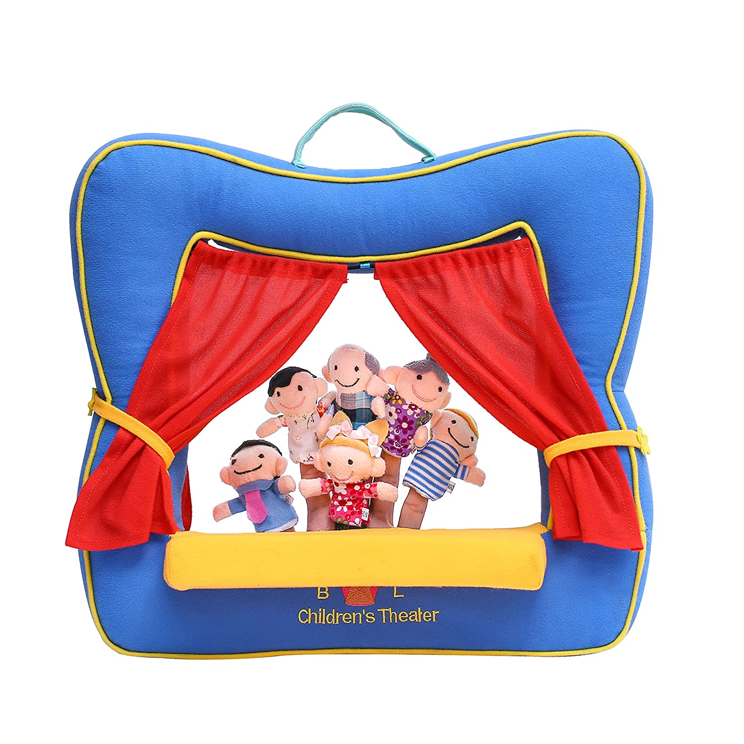Finger Puppet Theater Stage by Better Line - Set Includes 6 Finger Family Puppets - Portable Plush Finger Puppet Theater is the Best Preschool Kids Toy (Blue Color)