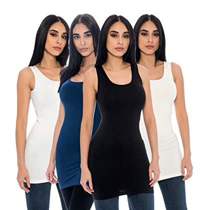 a870d12817ed6 Unique Styles 4-Pack Ladies Seamless Stretch Fitted Long Tank Top Camisole  Layering Top Regular and Plus Sizes (One Size